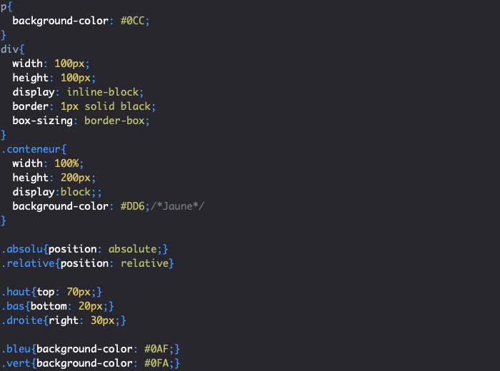 Utilisation de position absolute en CSS