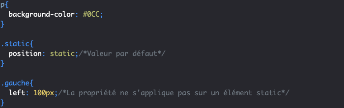 Utilisation de position static en CSS