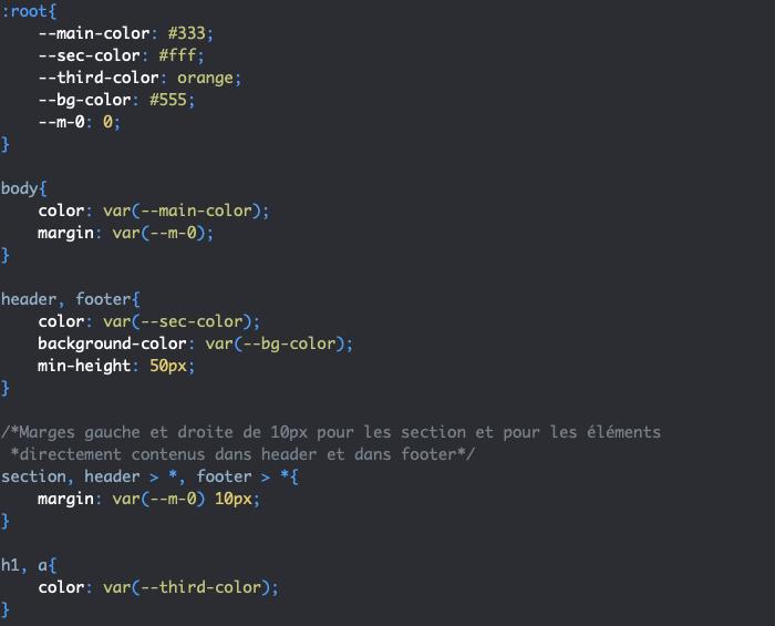 Les propriétés personnalisées ou variables CSS et la fonction var() exemple
