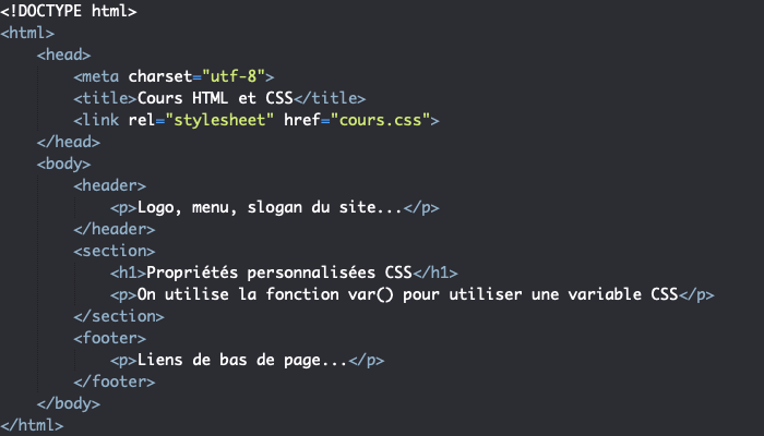 Les propriétés personnalisées ou variables CSS et la fonction var()