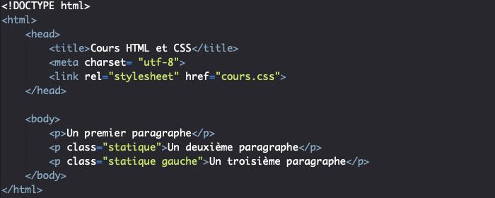 Support HTML pour utilisation de position static en CSS