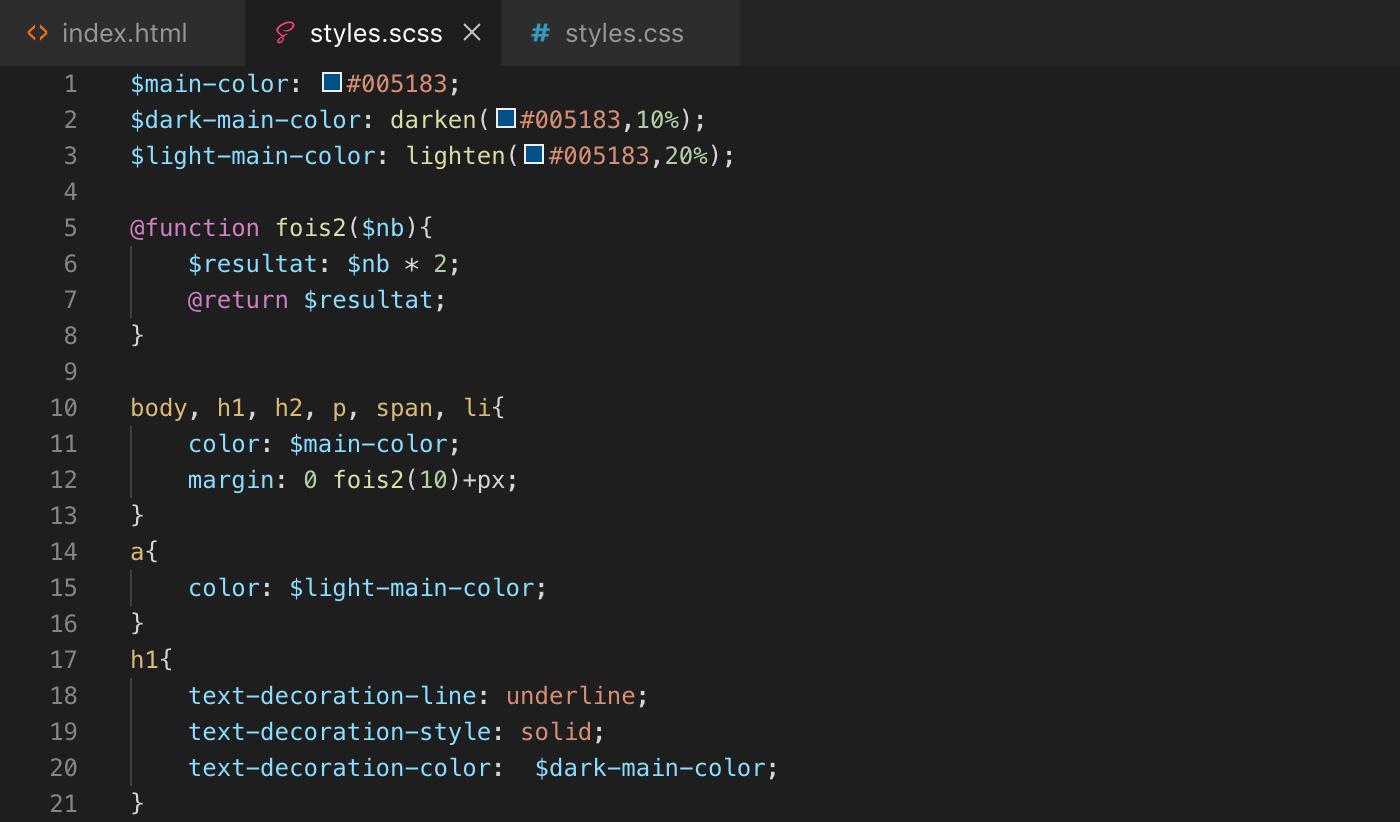 Exemple création fonction Sass - scss