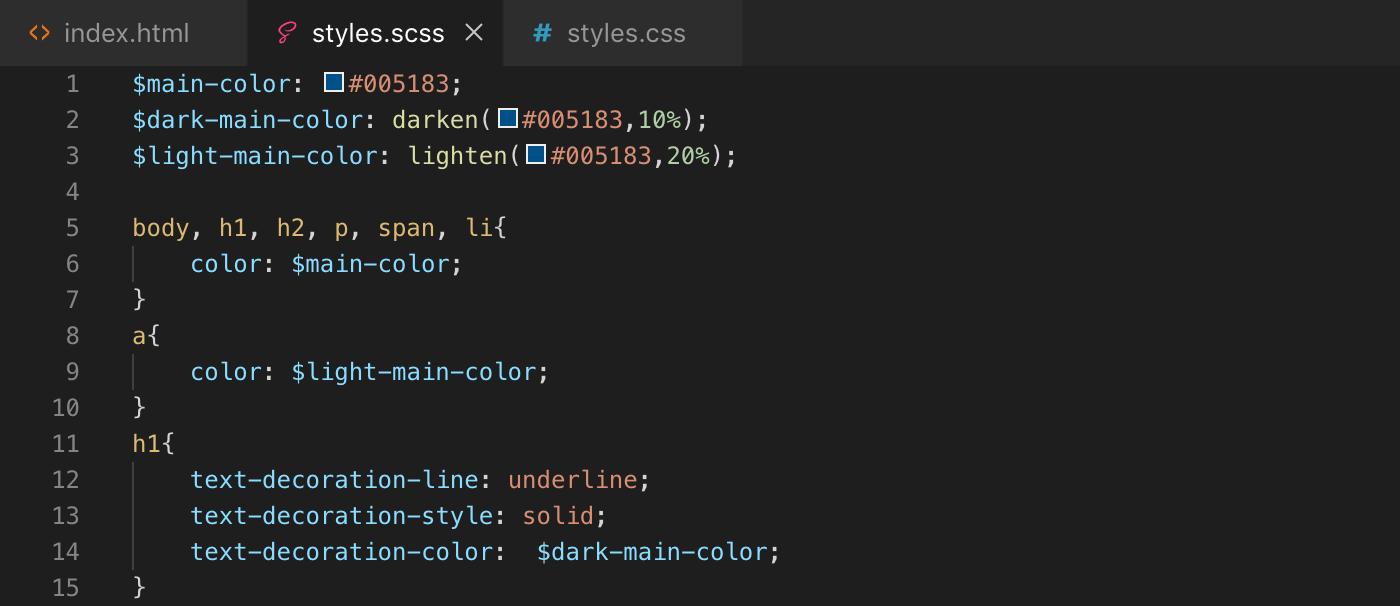 Exemple d'utilisation des fonctions darken() et lighten() de Sass - scss