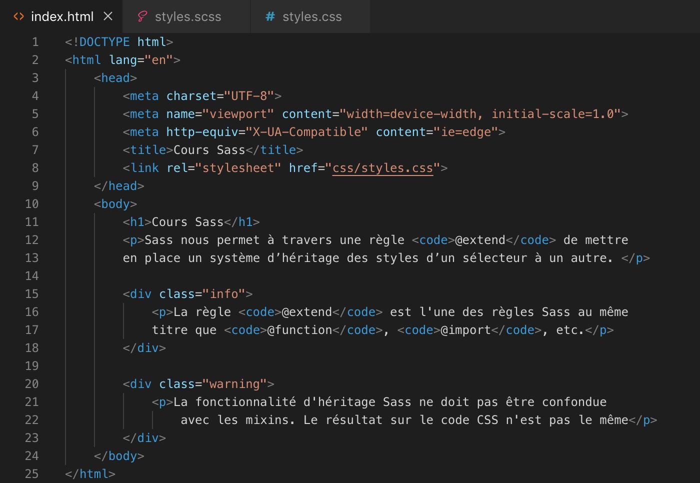 L'héritage des propriétés avec Sass - html
