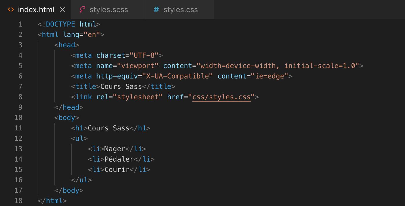 Imbrication des sélecteurs Sass - html