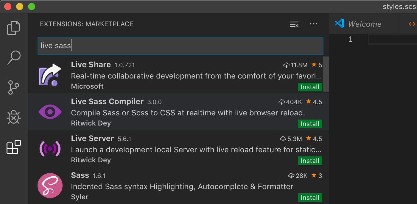 Installation d'un compiler Sass live