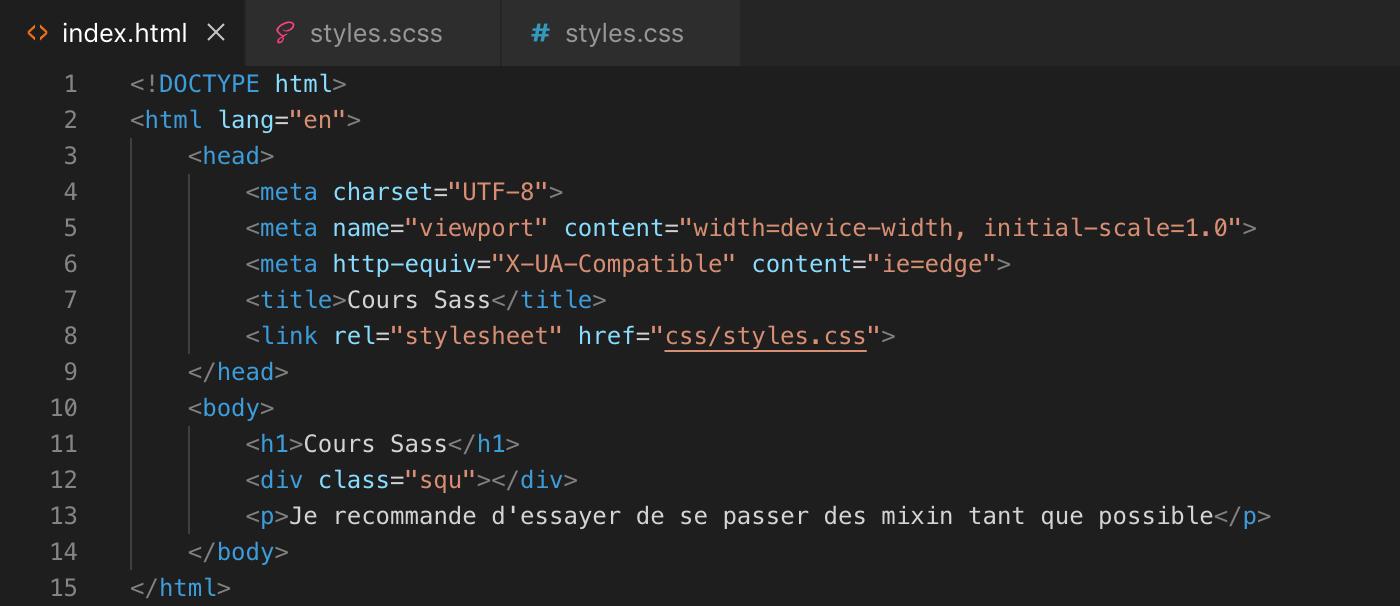 Présentation des mixins Sass - html