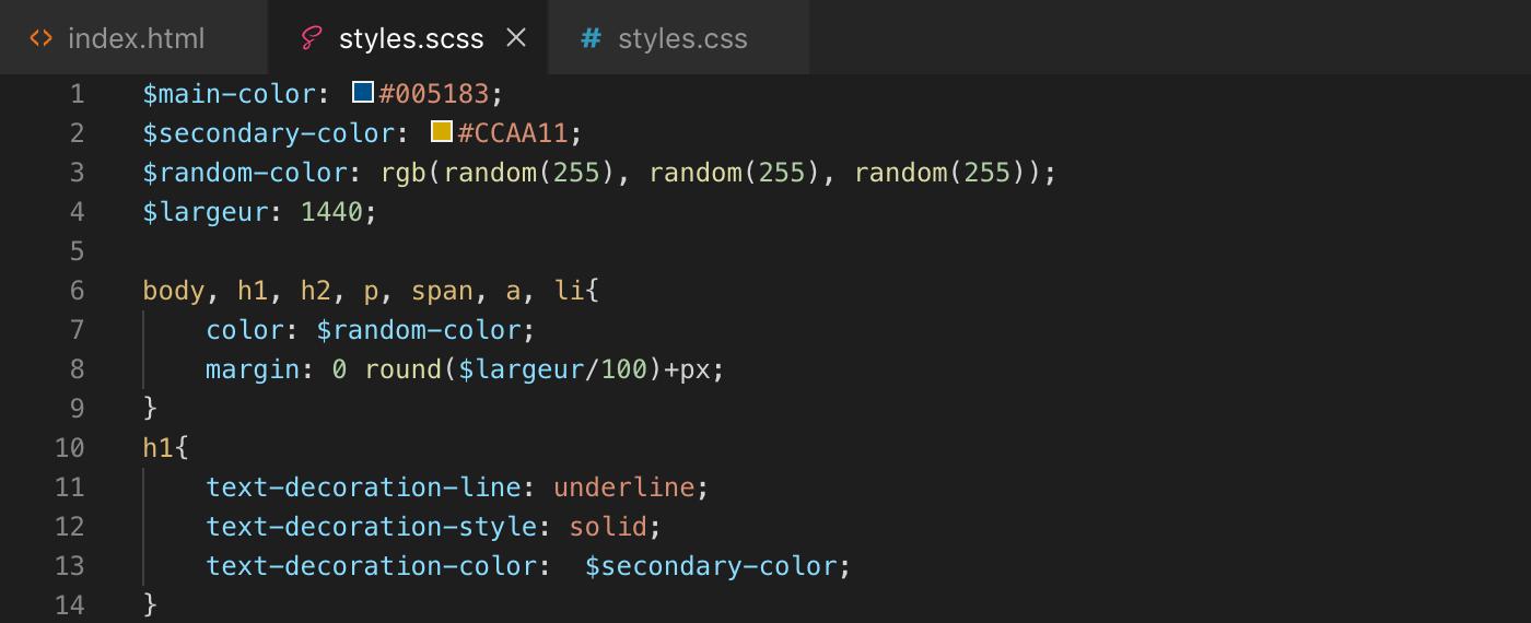 Exemple d'utilisation de la fonction round() de Sass - scss