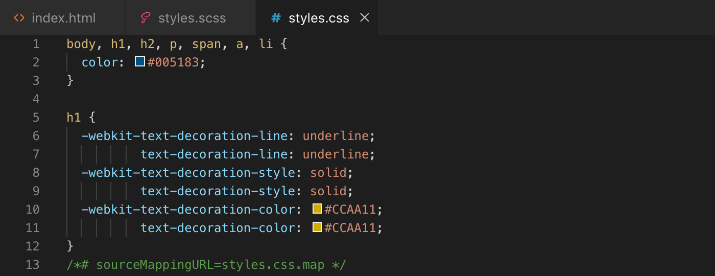Exemple utilisation variables Sass résultat Css