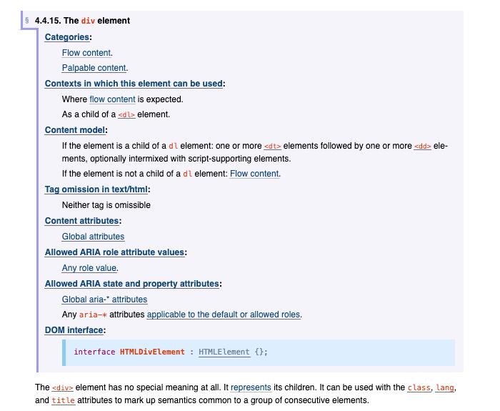 Element HTML div reference documentation officielle