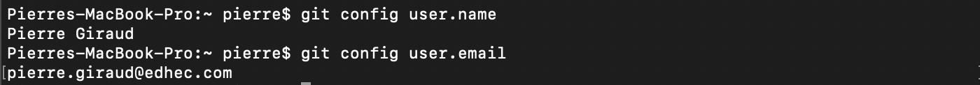 Affichage nom email enregistré git