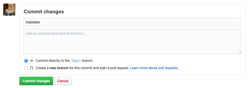message commit modification github