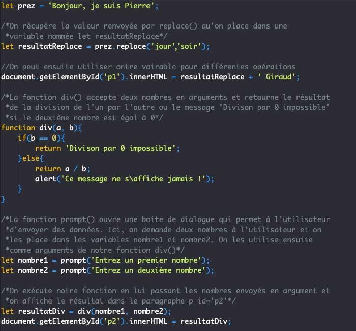 Exemple illustration du renvoi de valeur avec return dans une fonction en JavaScript